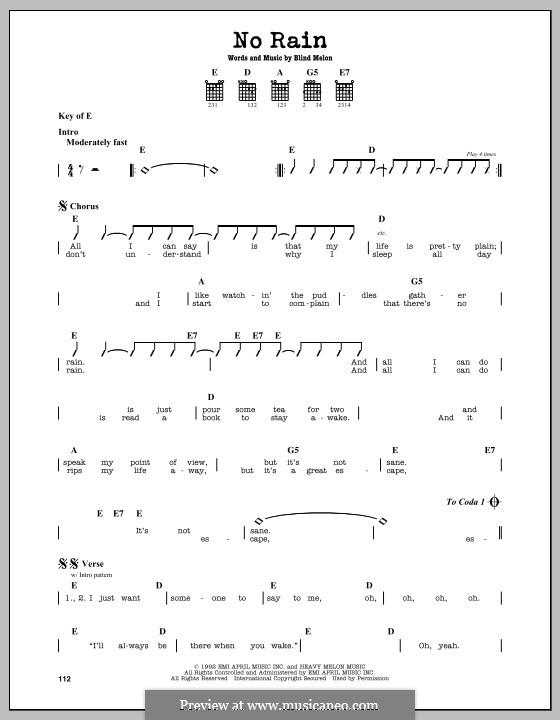 No Rain (Blind Melon): For guitar by Brad Smith, Christopher Thorn, Glen Graham, Roger Stevens, Shannon Hoon