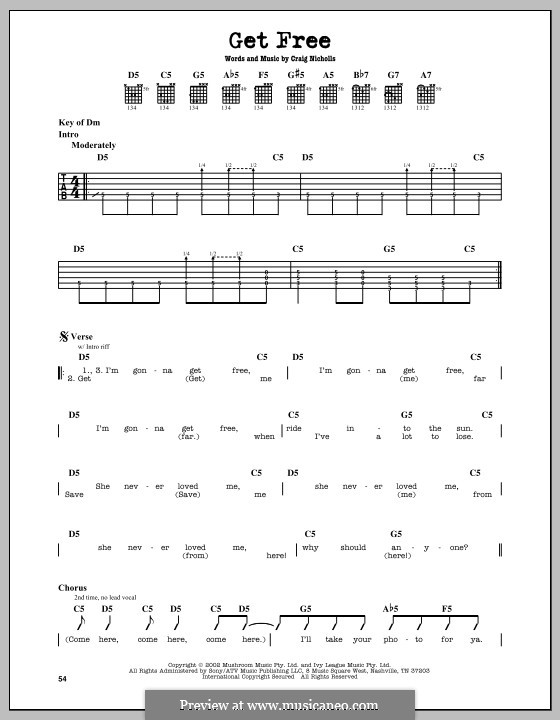 Get Free (The Vines): For guitar with tab by Craig Nicholls