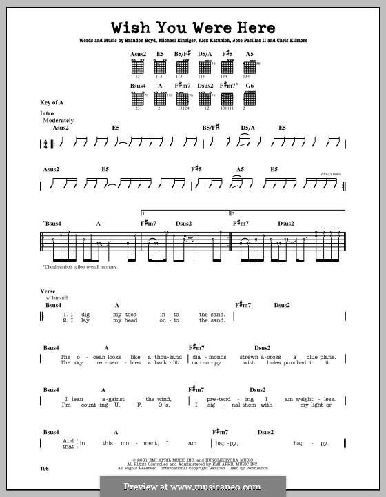 Guitar guitar tabs wish you were here : Wish You Were Here (Incubus) by A. Katunich, B. Boyd, M. Einziger ...