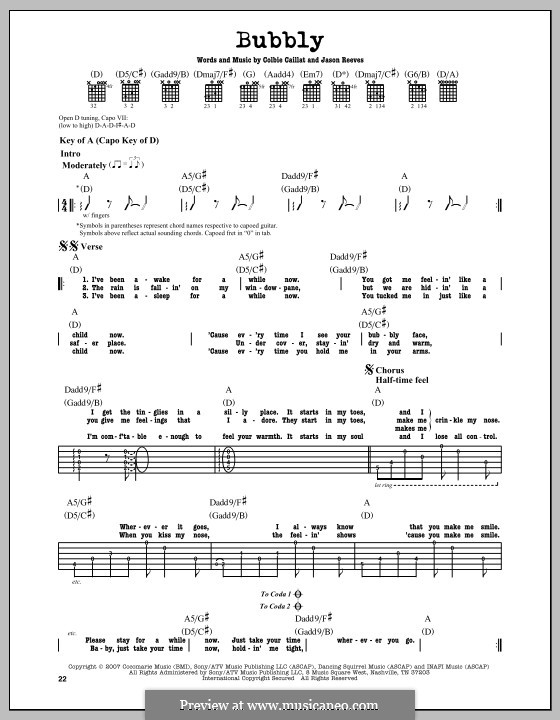 Bubbly: For guitar with tab by Jason Reeves