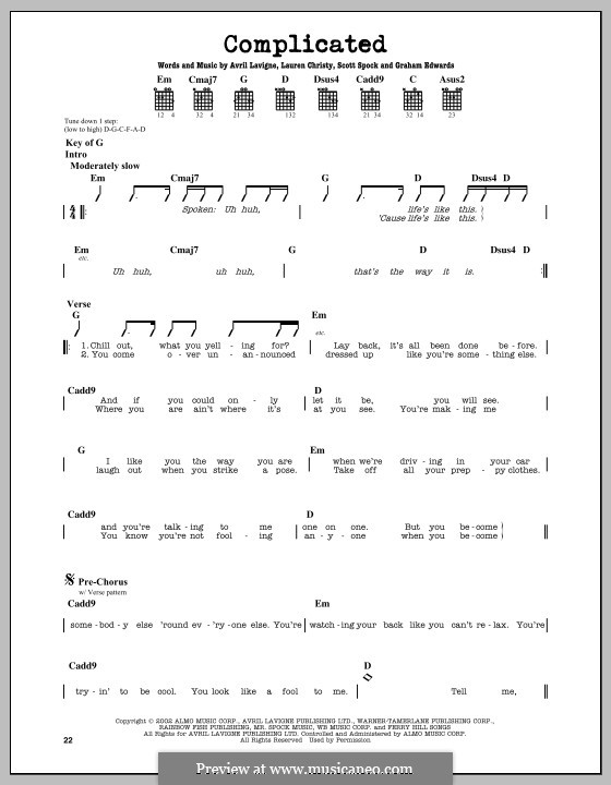 Complicated: For guitar with tab by Avril Lavigne, Graham Edwards, Lauren Christy, Scott Spock
