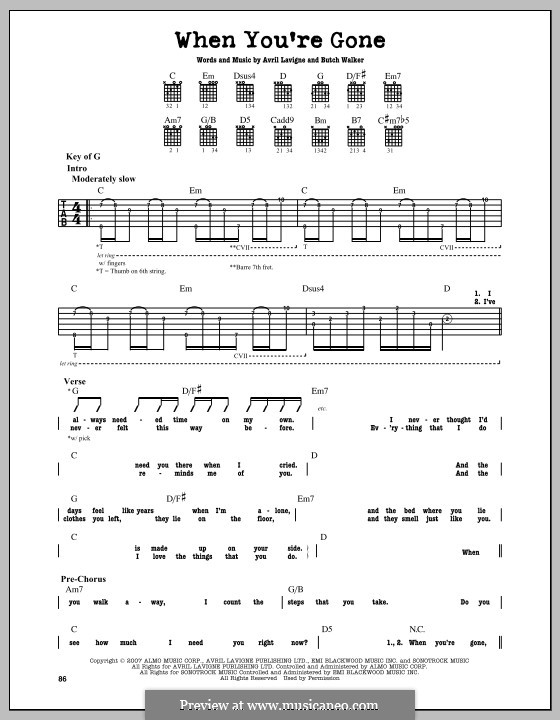 When You're Gone: For guitar with tab by Avril Lavigne, Butch Walker