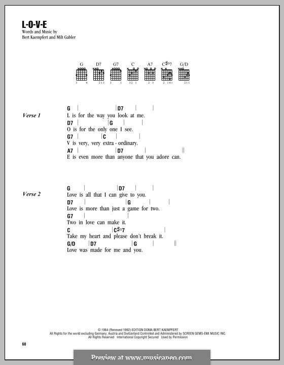 L-O-V-E (Nat King Cole): Lyrics and chords by Bert Kaempfert, Milt Gabler