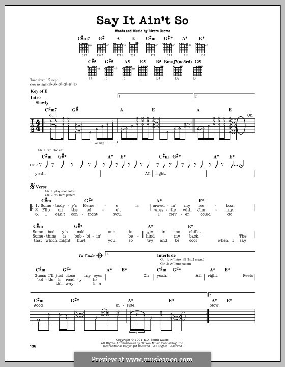 Say It Ain't So (Weezer): For guitar with tab by Rivers Cuomo