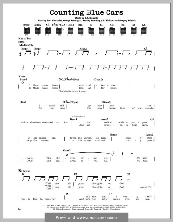 Counting Blue Cars (Dishwalla): For guitar with tab by George Pendergast, Gregory Kolanek, J.R. Richards, Scot Alexander