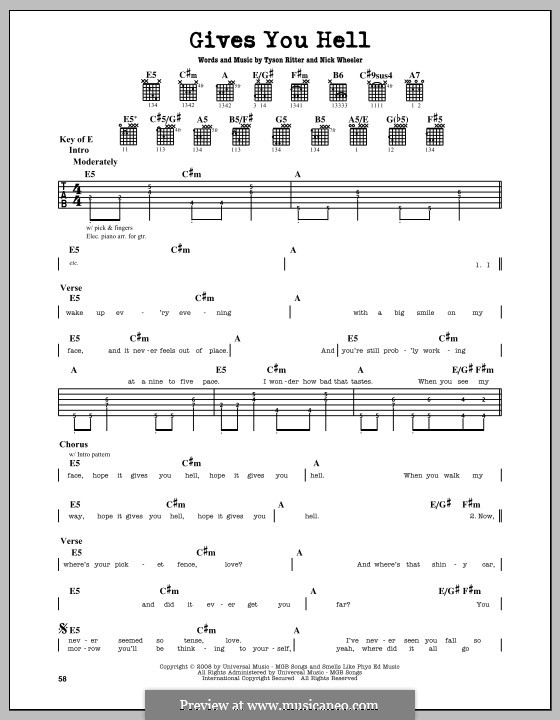 Gives You Hell (The All-American Rejects): For guitar with tab by Nick Wheeler, Tyson Ritter