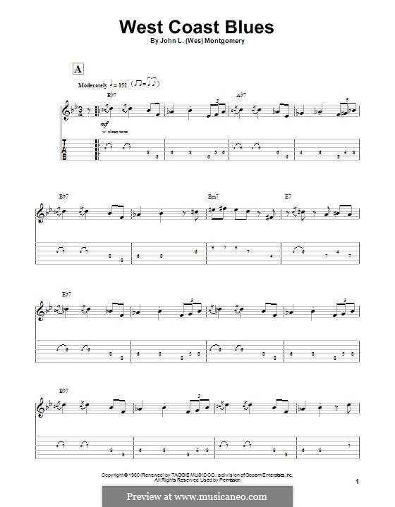 West Coast Blues: For guitar with tab by Wes Montgomery