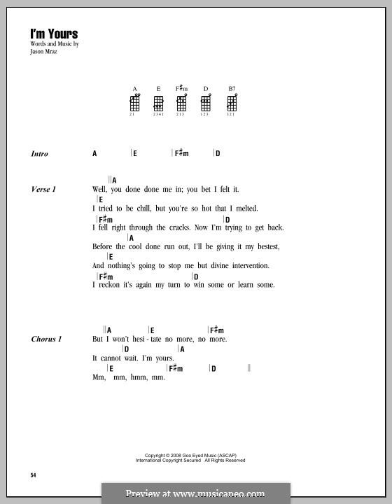 I'm Yours: For ukulele by Jason Mraz