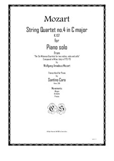 String Quartet No.4 in C Major, K.157: Version for piano solo by Wolfgang Amadeus Mozart