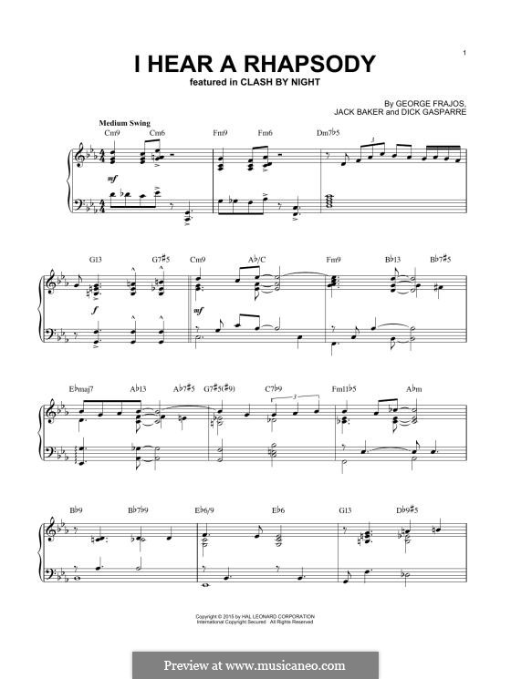 I Hear a Rhapsody: For piano by Dick Gasparre, George Frajos