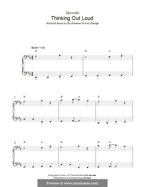 Thinking Out Loud: For piano by Ed Sheeran, Amy Wadge