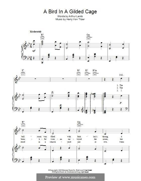 A Bird in a Gilded Cage: For voice and piano (or guitar) by Harry von Tilzer