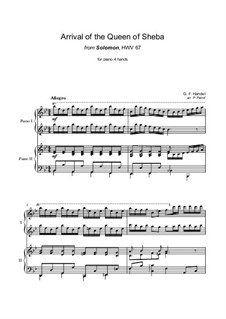 Solomon, HWV 67: The Arrival of the Queen of Sheba, for piano four hands by Georg Friedrich Händel