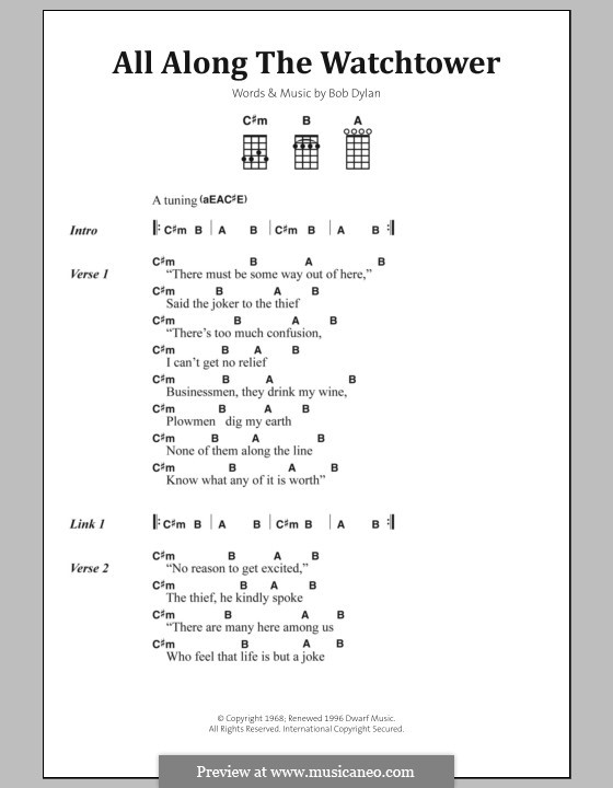 All Along the Watchtower by B. Dylan - sheet music on MusicaNeo