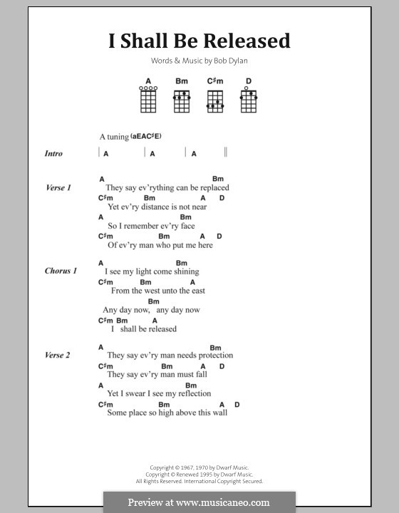 I Shall Be Released: Lyrics and chords by Bob Dylan