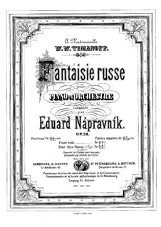 Fantasia on Russian Themes for Piano and Orchestra, Op.39: Piano score by Eduard Napravnik