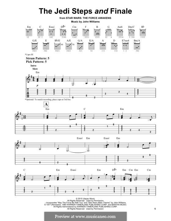 The Jedi Steps and Finale (from Star Wars: The Force Awakens): For guitar by John Williams