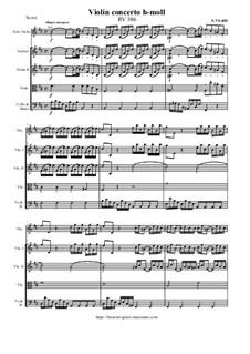 Concerto for Violin and Strings in B Minor, RV 386: Score and all parts by Antonio Vivaldi