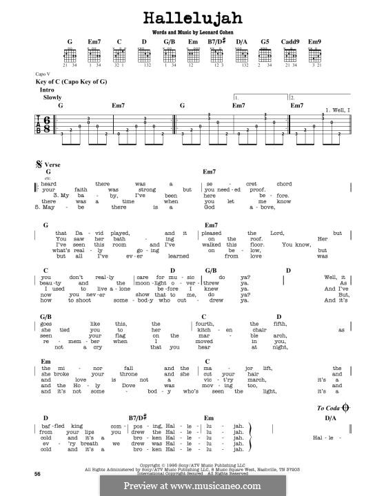 Hallelujah: For guitar tab with lyrics by Leonard Cohen