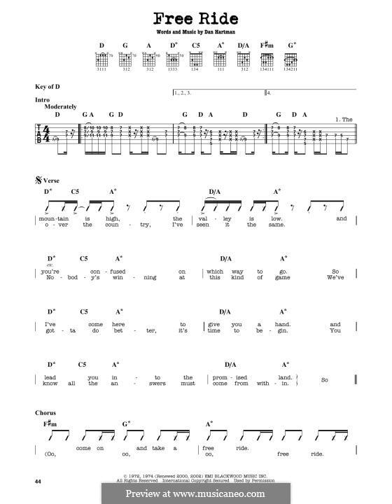 Free Ride (Edgar Winter Group): For guitar by Dan Hartman