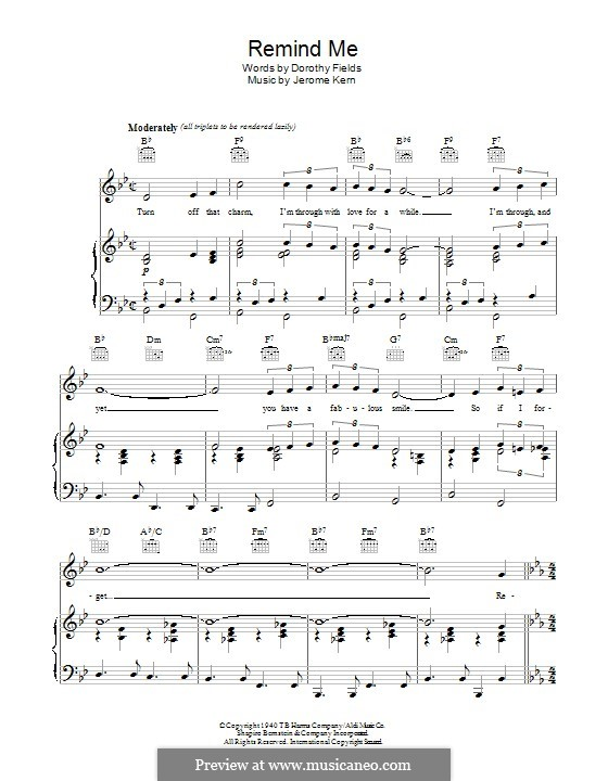 Remind Me (Ella Fitzgerald): For voice and piano (or guitar) by Jerome Kern