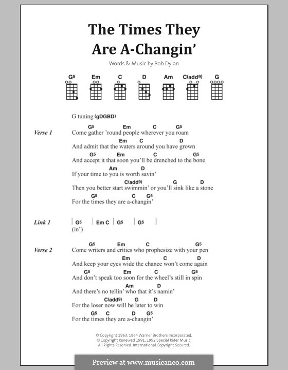 The Times They Are A-Changin\' by B. Dylan - sheet music on MusicaNeo
