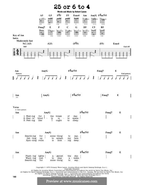 25 or 6 to 4 (Chicago): For guitar by Robert Lamm