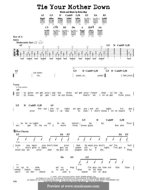 Tie Your Mother Down (Queen): For guitar by Brian May