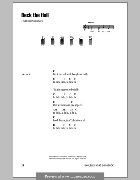 Deck the Hall (Printable): For ukulele by folklore