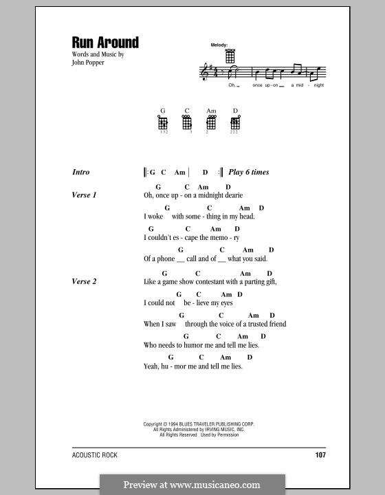 Run Around (Blues Traveler): For ukulele by John Popper