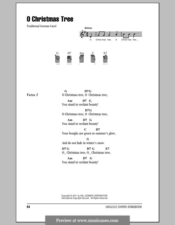 O Christmas Tree, (Printable Scores): For ukulele by folklore