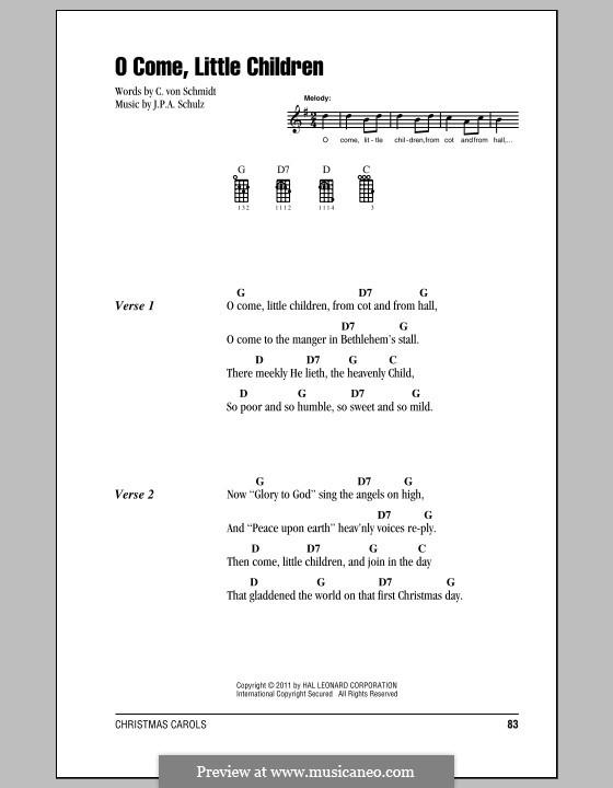 O Come, Little Children: For ukulele by Johann Abraham Schulz