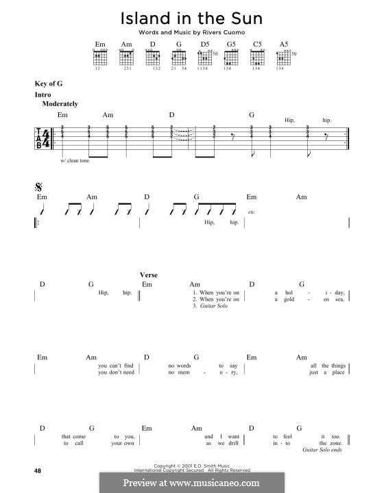 Island in the Sun (Weezer): For guitar by Rivers Cuomo