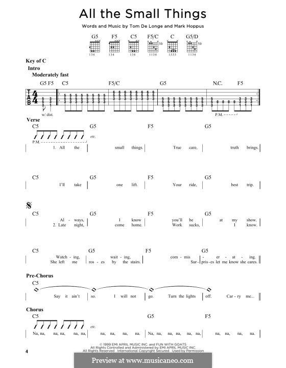 All the Small Things (Blink-182): For guitar by Mark Hoppus, Tom DeLonge
