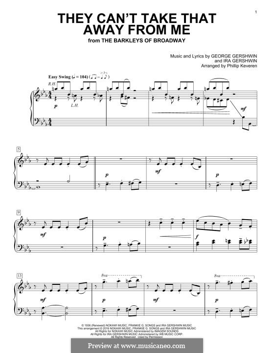 They Can't Take That Away from Me: For piano by George Gershwin
