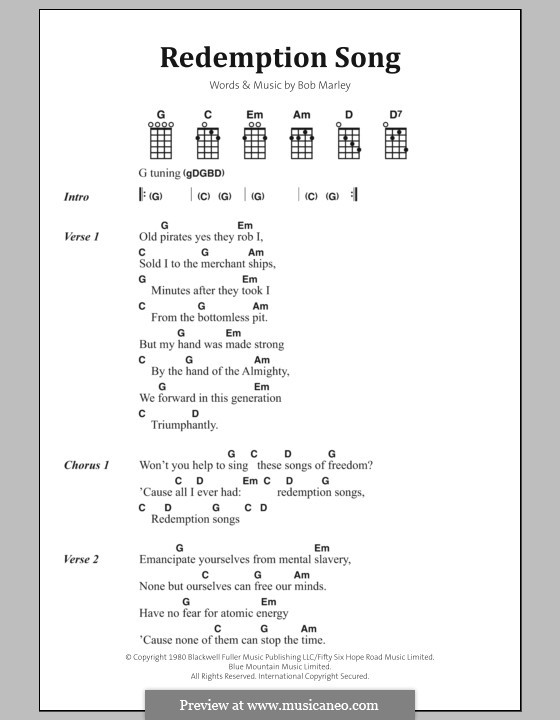 Redemption Song: Lyrics and chords by Bob Marley