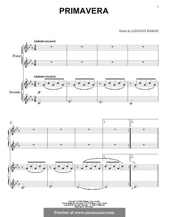 Primavera: For piano by Ludovico Einaudi
