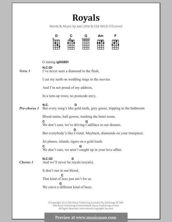 Royals (Lorde): Lyrics and chords by Ella Yelich-O'Connor, Joel Little
