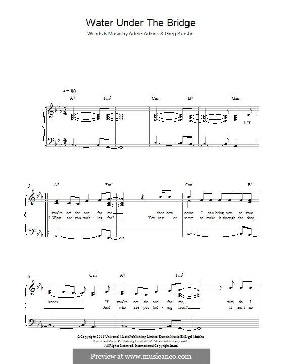 Water Under the Bridge: For piano by Adele, Greg Kurstin