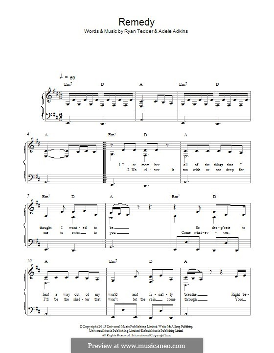 Remedy: For piano by Adele, Ryan B Tedder
