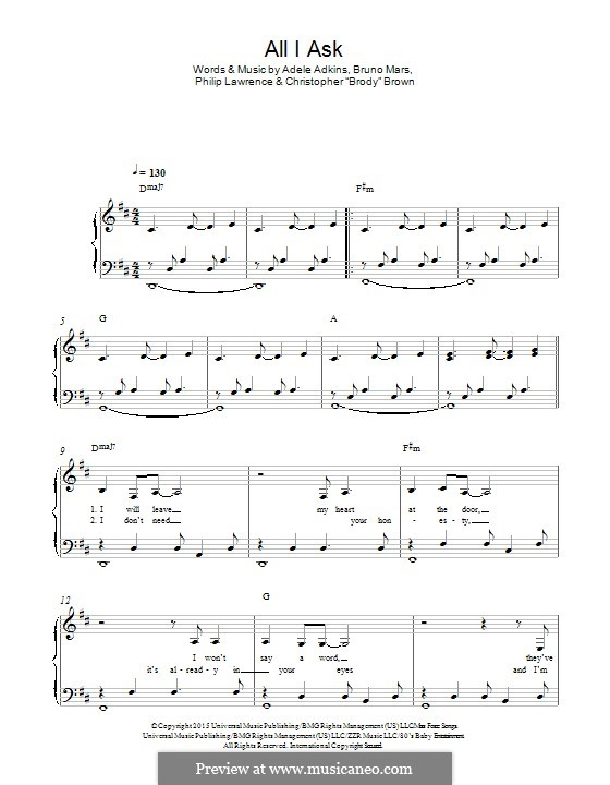 All I Ask: For piano (D Major) by Adele, Christopher Brown, Bruno Mars, Philip Lawrence