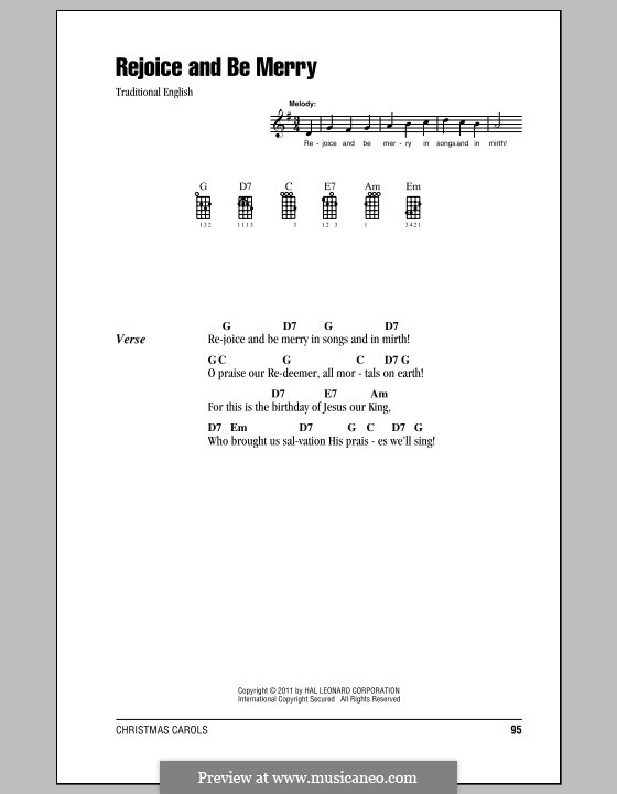 Rejoice and Be Merry (The Gallery Carol): For ukulele by folklore