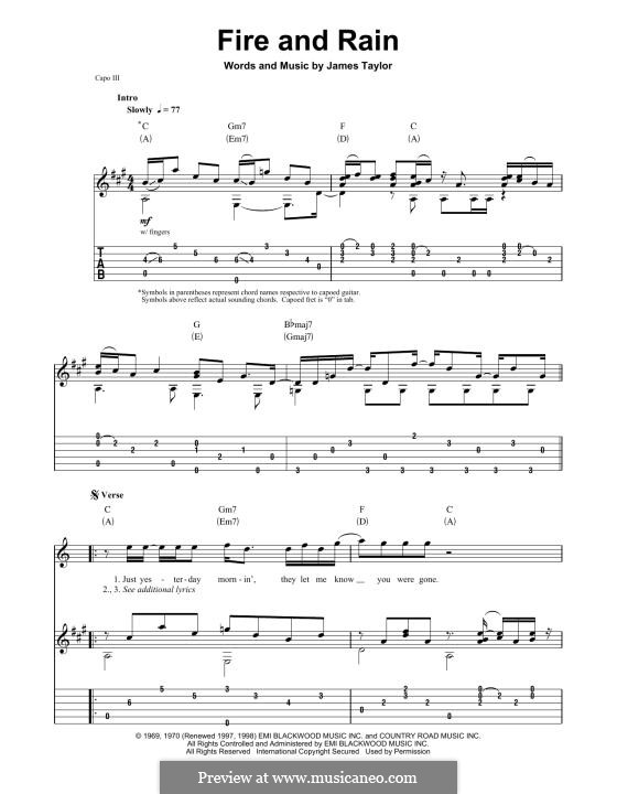 Fire and Rain: For guitar by James Taylor