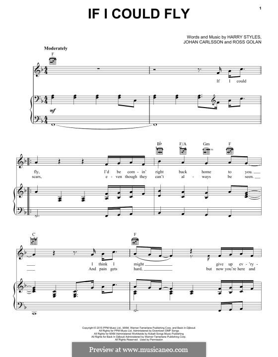 If I Could Fly (One Direction): For voice and piano (or guitar) by Harry Styles, Johan Carlsson, Ross Golan