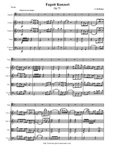 Concerto for Bassoon and Orchestra, J.127 Op.75: Full score, parts by Carl Maria von Weber