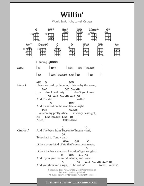 Willin' (Little Feat): Lyrics and chords by Lowell George