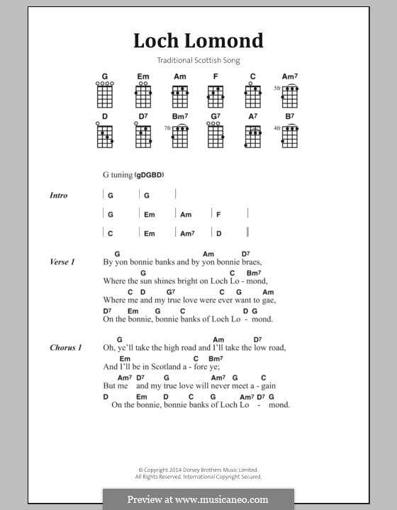 Loch Lomond: Lyrics and chords by folklore