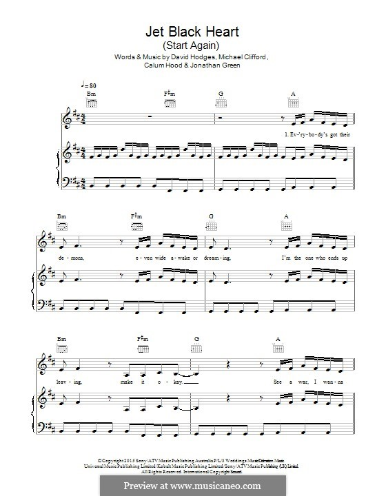Jet Black Heart / Start Again (5 Seconds of Summer): For voice and piano (or guitar) by David Hodges, Michael Clifford, Calum Hood, Jonathan Green