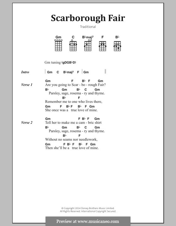 Scarborough Fair: Lyrics and chords by folklore