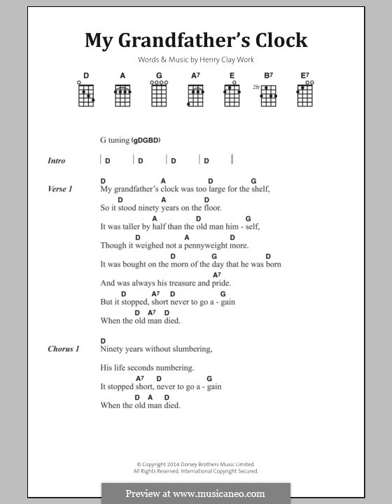 Grandfather's Clock: Lyrics and chords by Henry Clay Work